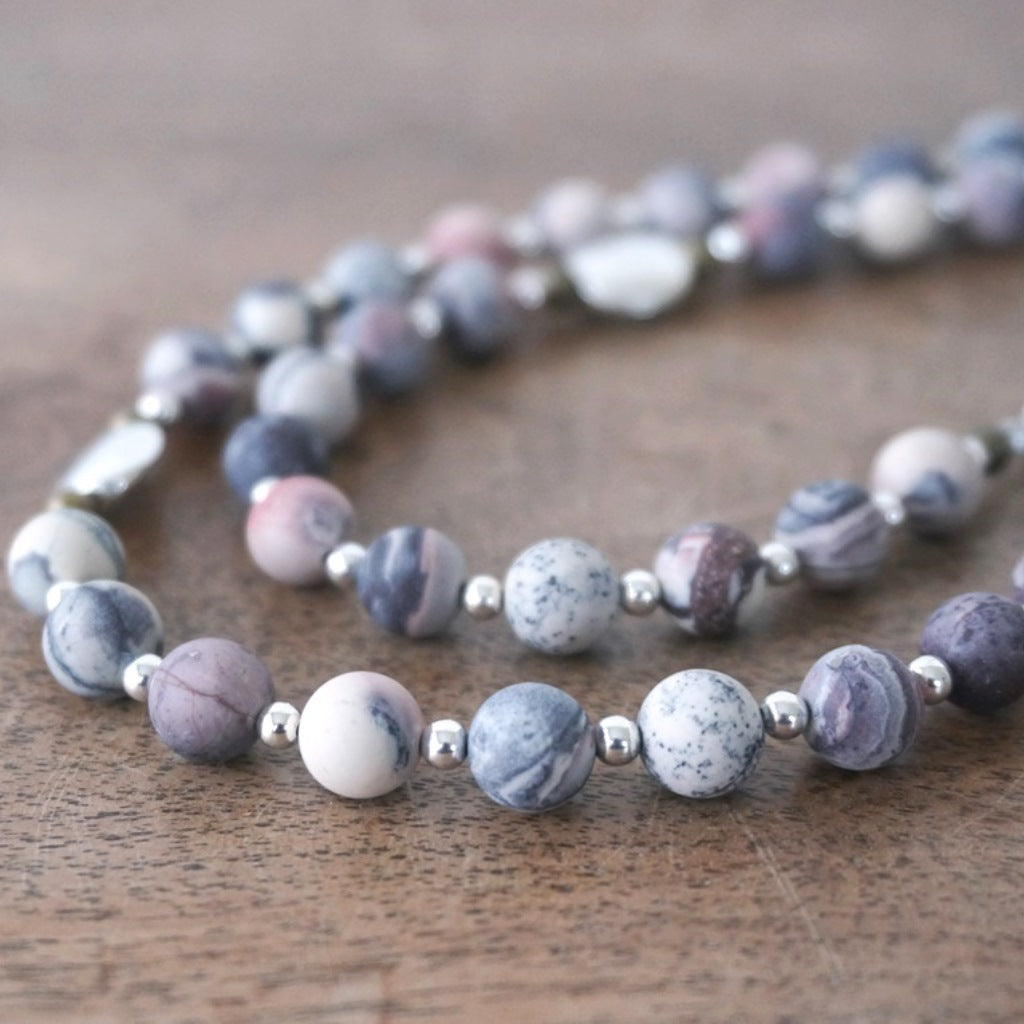 bead closeup handmade rosary with modern matte Porcelain Jasper & mixed metals