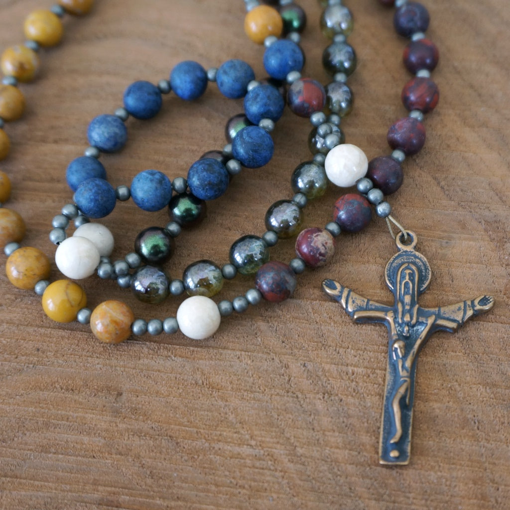 Catholic Rosary: Colorblock Mixed Gemstone and Glass, Mixed Metal