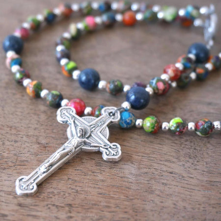 small Catholic pocket rosary with colorful gemstone beads