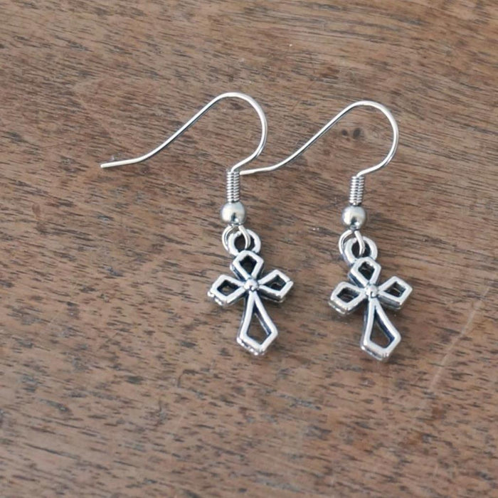 Dangle Earrings: Silver Cross