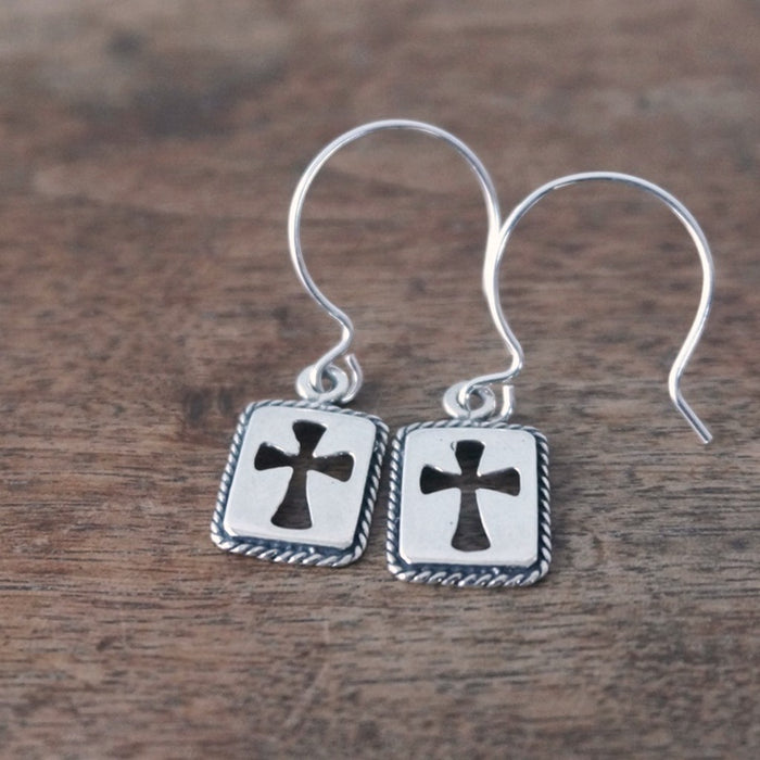 Dangle Earrings: Sterling Silver Cutout Cross