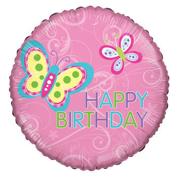 """Happy Birthday"" Butterfly Foil Balloon, 18"""