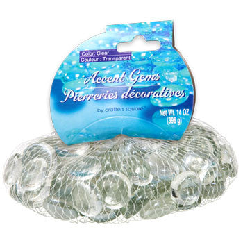 Clear Glass Accent Gems, 14-oz. Bag