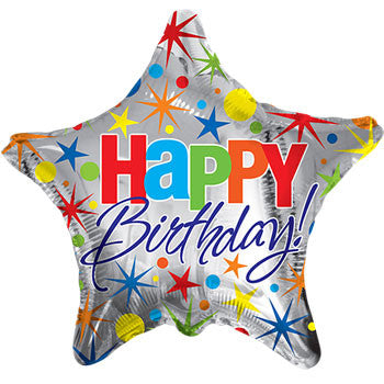 """Happy Birthday"" Star Foil Balloon, 18 in."