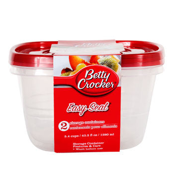 Betty Crocker 42.3-oz. Easy Seal Plastic Storage Containers, 2-ct. Pack