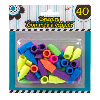 Jot Bright Pencil-Topper Erasers, 40-ct. Pack