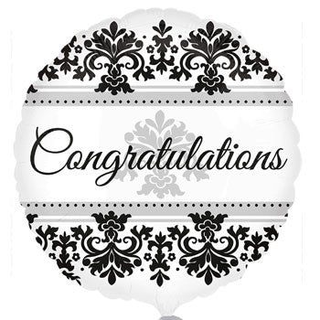 "Foil ""Congratulations"" Damask Balloon, 18"""