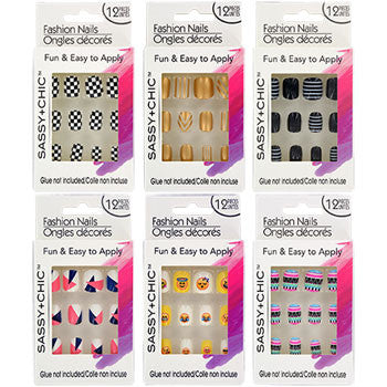 Sassy+Chic Glue-On Artificial Fashion Nails, 12-pc. Set (6 sets)