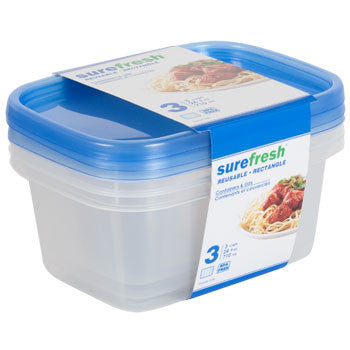 24-oz. Sure Fresh Small Rectangular Storage Containers, 3-ct. Pack