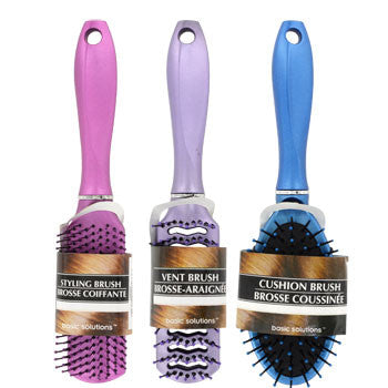 Basic Solutions Assorted Metallic Hair Brushes (Set of 3)