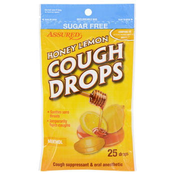 Assured Honey-Lemon Sugar-Free Cough Drops, 25-ct. Bag