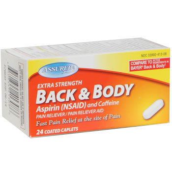Assured Extra Strength Back and Body Pain Reliever, 24-ct. Bottle