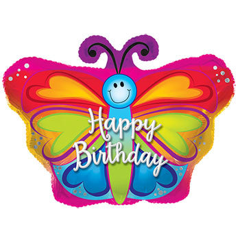 "Butterfly-Shaped ""Happy Birthday"" Foil Balloon, 22 in."