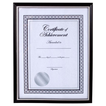 Black Plastic Document Frame with Silver Accent, 8½x11""