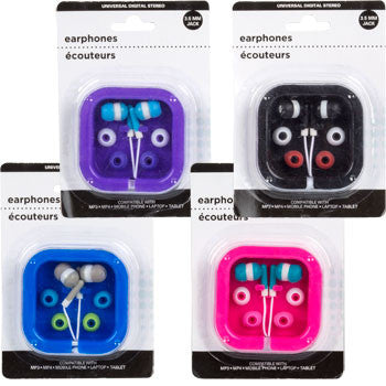 Digital Earbud Earphones with Carrying Case