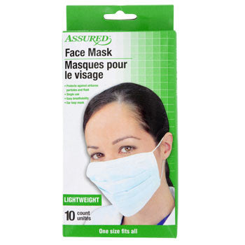 Assured Disposable Medical Face Masks, 10-ct. Box
