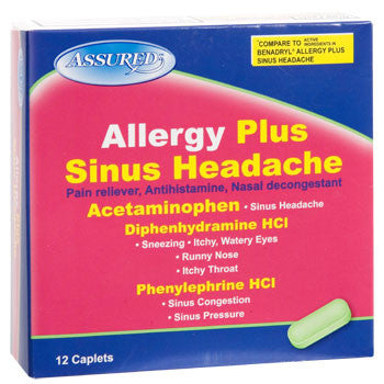 Assured Allergy Plus Sinus Headache Capsules, 12-ct. Box