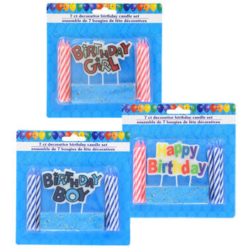 Colorful Birthday Decorative Candle Set, 8 pc.