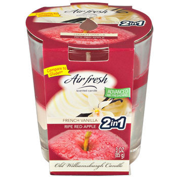 Air Fresh French Vanilla/Ripe Red Apple-Scented Glass Jar Candle, 3 oz.