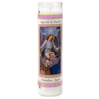 Guardian Angel Glass Prayer Candle, 8""