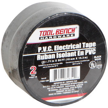 50-ft. Rolls of Tool Bench Hardware Black Electrical Tape, 2-ct. Pack