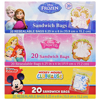 Disney Character Sandwich Bags, 20-ct. Packs (Set of 3)