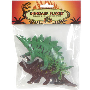 Plastic Toy Dinosaurs Playset with Plastic Tree, 3-pc. Set