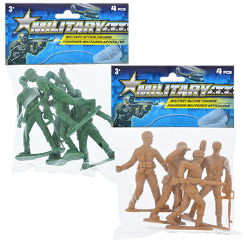 4-in. Plastic Military Action Figures, 4-ct. Pack