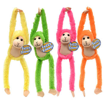 Fuzzy Friends Brightly Colored Hanging Monkeys, 14.5 in.