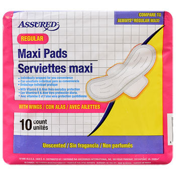 Assured Regular Maxi Pads with Wings, 10-ct. Pack