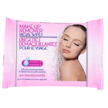 Pre-Moistened Makeup Remover Facial Wipes, 40-ct. Pack