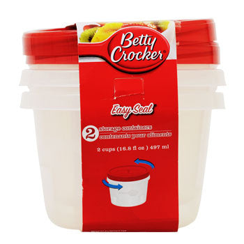 Betty Crocker Easy Seal Plastic Storage Containers, 2-ct. Pack