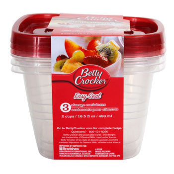 Betty Crocker Easy Seal 16.5-oz. Plastic Storage Containers, 3-ct. Pack