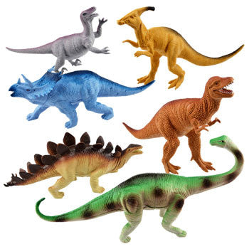 Large Plastic Toy Dinosaurs (Set of 6)