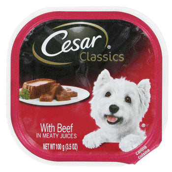 Cesar Classics Beef-Flavored Wet Dog Food, 3.5-oz. Pack