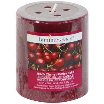 Luminessence Black-Cherry Scented Pillar Candle