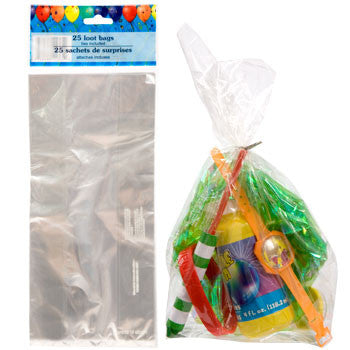 Clear Cellophane Loot Bags with Twist Ties, 25-ct. Pack