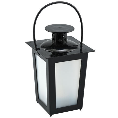 Black Frosted Battery-Operated LED Plastic Lantern
