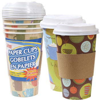 16-oz. Disposable Paper Coffee Cups with Plastic Lids, 5-ct. Pack