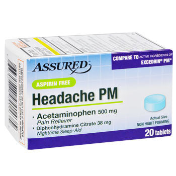 Assured Aspirin Free Headache PM, 20-ct. Tablets