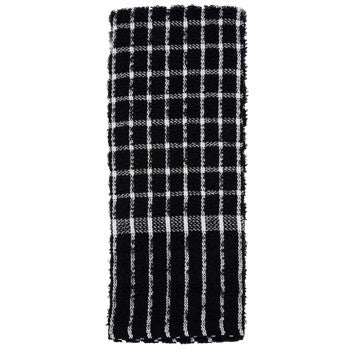 Black and White Checked Cotton Terry Kitchen Towel, 15x25 in.