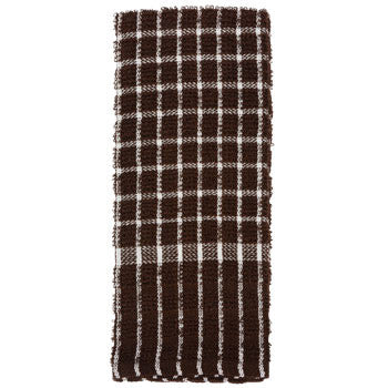 Chocolate Brown and White Checked Cotton Terry Kitchen Towel, 15x25""