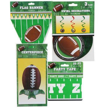 Assorted Football Party Décor (Set of 4)
