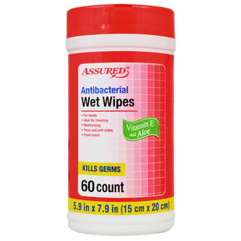Assured Antibacterial Wet Wipes, 60-ct. Canister