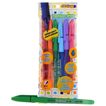 ProMarx Fashion Stick Pens in Assorted Fashion Colors, 6-ct. Pack