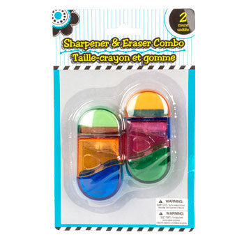 2-in-1 Pencil Sharpeners & Erasers, 2-ct. Pack