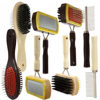 Assorted Pet Brushes and Combs with Wooden Handles (Set of 4)