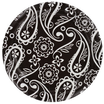 "Black & White Paisley Large Paper Plates, 9"", 18-ct. pack"