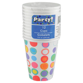 Party Circles Paper Cups, 9-oz., 12-ct. Pack