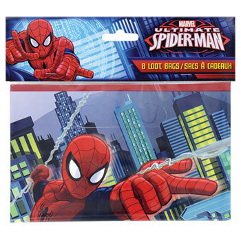 Marvel Ultimate Spider-Man Loot Bags with Handles. 8-ct. Pack